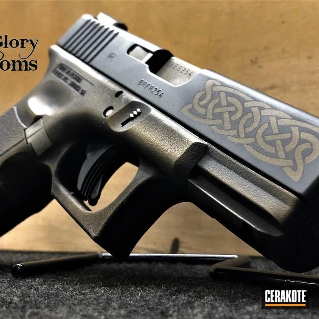 Cerakoted: S.H.O.T,Norseman,Viking,Distressed,Pistol,Celtic Theme,Midnight Bronze H-294,Glock 19,Graphite Black H-146,BARRETT® BRONZE H-259,Stainless H-152,Burnt Bronze H-148,Glock