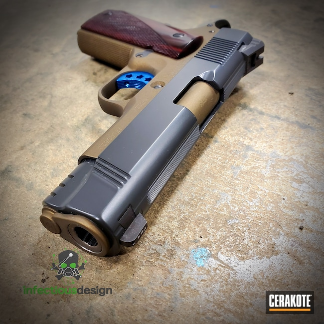 Cerakoted: S.H.O.T,Two Tone,Burnt Bronze H-148,Pistol,Smoke E-120,1911
