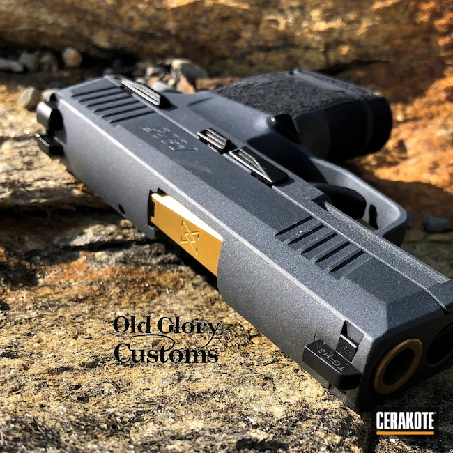 Cerakoted: S.H.O.T,Sig P365,Sniper Grey H-234,Graphite Black H-146,Two Tone,p365,Pistol,Sig Sauer,Make it Your Own