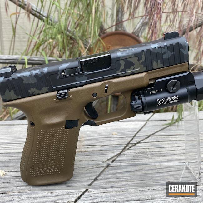 Cerakoted: S.H.O.T,Glock 19,9mm,Sniper Grey H-234,Graphite Black H-146,Pistol,O.D. Green H-236,Slide