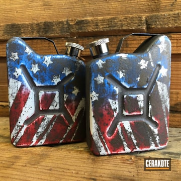 Cerakoted American Flag Gas Can Flasks