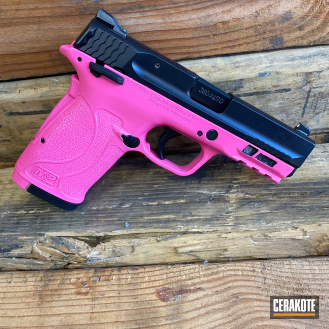 Cerakoted: S.H.O.T,380EZ,Two Tone,Smith & Wesson,Smith & Wesson M&P,Pistol,Prison Pink H-141