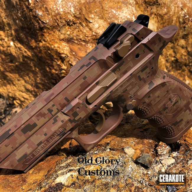 Cerakoted: S.H.O.T,Desert Eagle,Digital Camo,Federal Brown H-212,BARRETT® BROWN H-269,Pistol,Baby Deagle,Brown,Copper Brown H-149,Chocolate Brown H-258