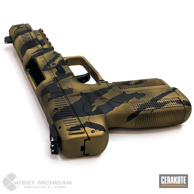 Cerakoted: S.H.O.T,FNH,Asat Camo,Firearm,Armor Black H-190,Pistol,Firearms,Custom Camo,Tribal Camo,Gold H-122,Handgun