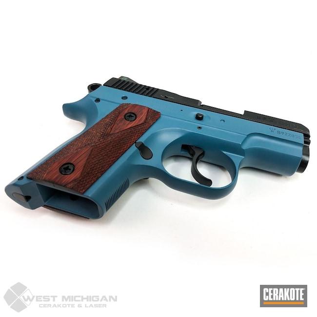 Cerakoted: S.H.O.T,BLACKOUT E-100,Firearm,Pistol,CZ 2075 Rami,Jesse James Civil Defense Blue H-401,Firearms,Rosewood Grips,Handgun