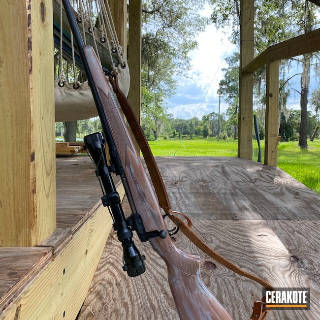 Cerakoted: SHOT,Bolt Action Rifle,Robin's Egg Blue H-175,Bolt Action,#110,COPPER SUEDE H-310,HIGH GLOSS CERAMIC CLEAR MC-160,.30-06,Burnt Bronze H-148,Savage