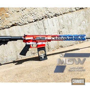 Cerakoted 4th Of July Patriotic Ar Rifle In H-167, H-171 And H-297