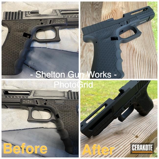 Cerakoted: S.H.O.T,#Glock frame #custom slide,Armor Black H-190,Pistol,Glock,Before and After