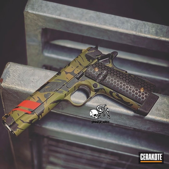Cerakoted: S.H.O.T,Laser Stippled,MULTICAM® BRIGHT GREEN H-343,Jungle Camo,USMC Red H-167,Pistol,Noveske Bazooka Green H-189,Laser Engrave,Custom Camo,Handgun,Noveske Tiger Eye Brown H-187,MultiCam,Springfield Armory,1911