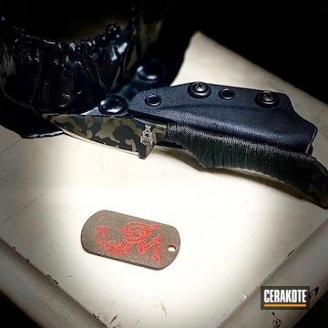 Cerakoted Multicam Knife Blade In H-146, H-203, H-342 And H-236
