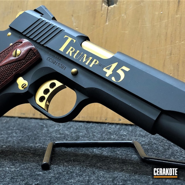 Cerakoted: SHOT,Trump 45,Gloss Black H-109,HIGH GLOSS CERAMIC CLEAR MC-160,Colt,Pistol,1911,MAGA,Trump,GunCandy