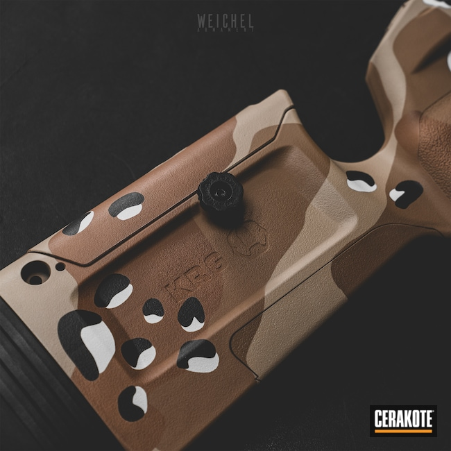 Cerakoted: S.H.O.T,Rifle Stock,Desert Sand H-199,Chocolate Chip Camo,Patriot Brown H-226,Copper Brown H-149