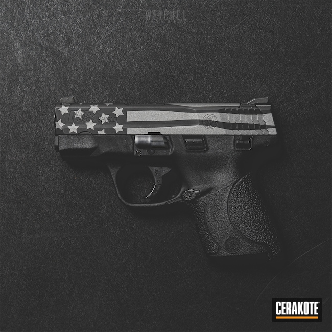 Cerakoted: S.H.O.T,Graphite Black H-146,Smith & Wesson,Tungsten H-237,Pistol,American Flag