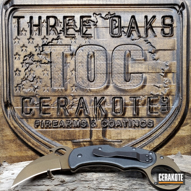 Cerakoted: S.H.O.T,Karambit,Armor Black H-190,Knife,Midnight Bronze H-294,Spyderco