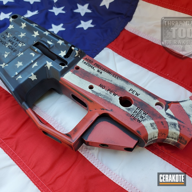 Cerakoted: S.H.O.T,Armor Black H-190,American Flag,2nd Amendment,Hidden White H-242,Aero Precision,AR Lower Receiver,PewPew,AR,2A,Distressed American Flag,KEL-TEC® NAVY BLUE H-127,SMITH & WESSON® RED H-216