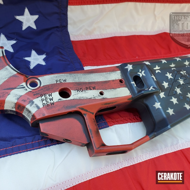 Cerakoted: S.H.O.T,Armor Black H-190,American Flag,2nd Amendment,Hidden White H-242,Aero Precision,AR Lower Receiver,PewPew,FIREHOUSE RED H-216,AR,2A,Distressed American Flag,KEL-TEC® NAVY BLUE H-127