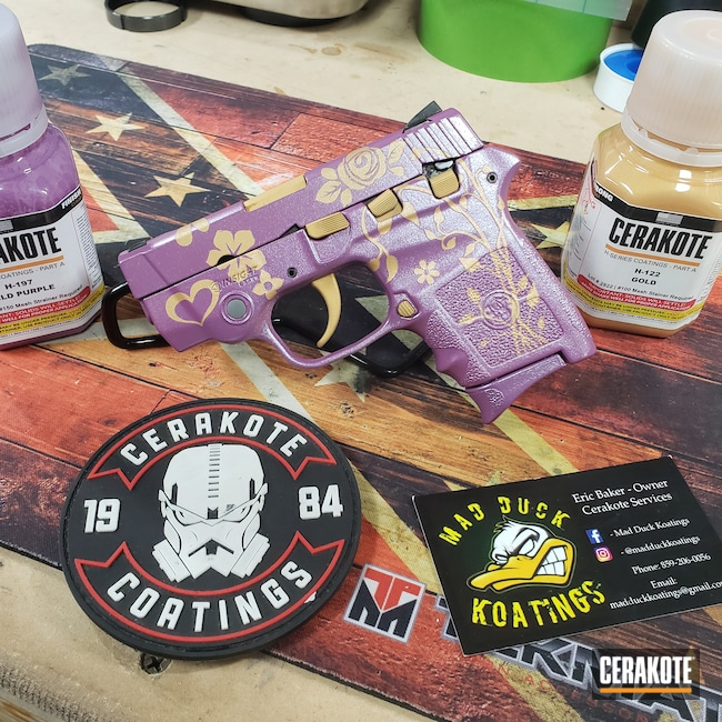 Cerakoted: S.H.O.T,Bodyguard,Bright Purple H-217,Smith & Wesson,Pistol,Gold H-122