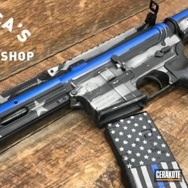 Cerakoted: S.H.O.T,NRA Blue H-171,Ruger,Thin Blue Line,Graphite Black H-146,AR,Titanium H-170,Tactical Rifle,American Flag