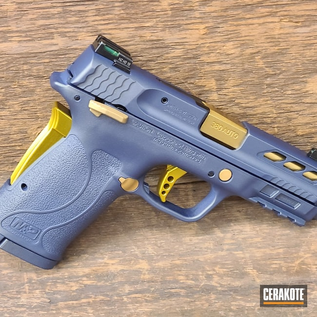 Cerakoted: S.H.O.T,Smith & Wesson,NORTHERN LIGHTS H-315,Shield,Pistol,S&W,Gold H-122