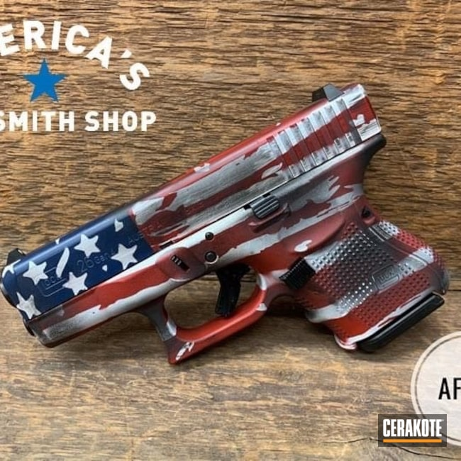 Cerakoted: Bright White H-140,S.H.O.T,NRA Blue H-171,Graphite Black H-146,Crimson H-221,Pistol,Glock,American Flag,Glock 26,Handgun