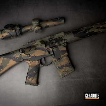 Cerakoted Multicam Rifle In H-148, H-190 And H-232