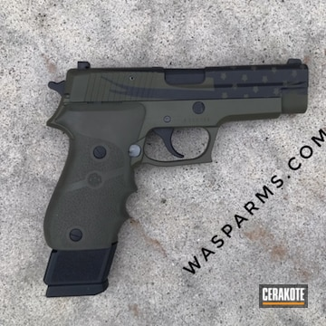 Cerakoted American Flag Sig Sauer 9mm In H-146, H-240 And H-264