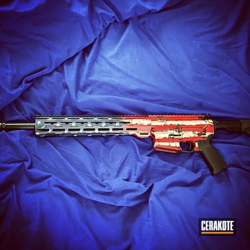 Cerakoted Tattered Distressed Stars And Stripes Rifle