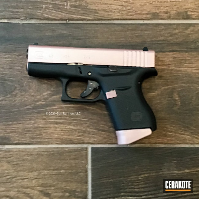 Cerakoted: S.H.O.T,9mm,Graphite Black H-146,Two Tone,Pistol,Glock,ROSE GOLD H-327,Glock 43