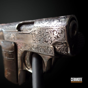 Cerakoted Hand Engraved Colt 25 Auto In C-192