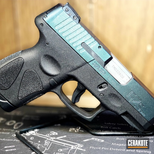Cerakoted: S.H.O.T,9mm,Plasma,Complete Makeover,Custom Color,Taurus g2s,Graphite Black H-146,Pistol,HIGH GLOSS ARMOR CLEAR H-300,Taurus,Handgun