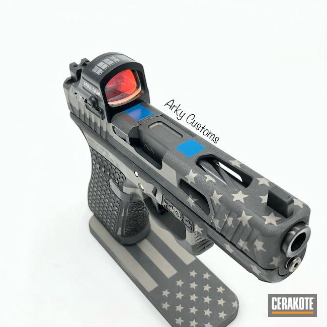 Cerakoted: S.H.O.T,Laser Stippled,Thin Blue Line,Tungsten H-237,Pistol,American Flag,Grayscale Flag,Laser Engrave,Glock 19,NRA Blue H-171,Custom,Titanium H-170,Glock