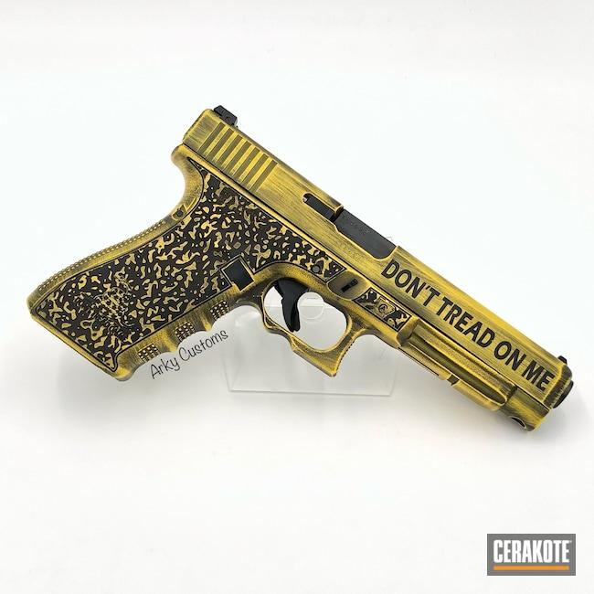 Cerakoted: S.H.O.T,Laser Stippled,Custom Glock,Corvette Yellow H-144,Dont Tread On Me,41,Pistol,Laser Engrave,Glock 41,Battleworn,Custom,Graphite Black H-146,Glock