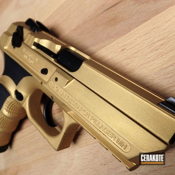 Cerakoted Two Toned Desert Eagle Handgun In C-102 And H-122