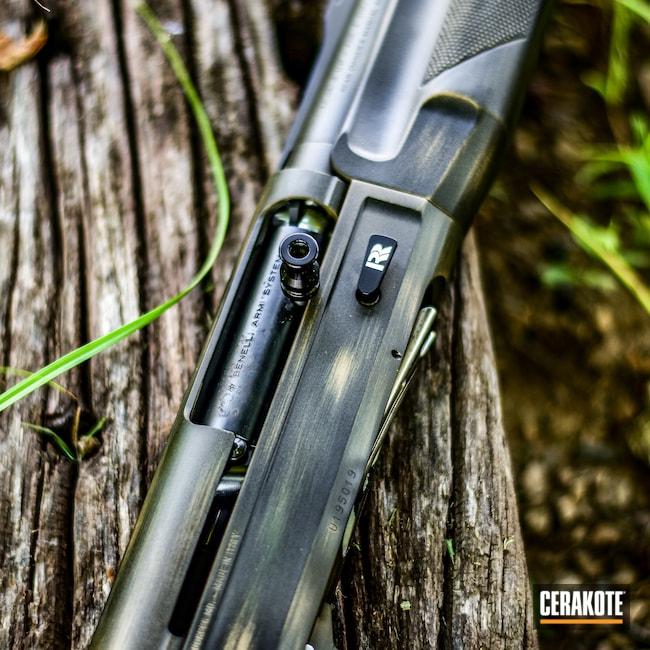 Cerakoted: S.H.O.T,Shotgun,Mud Brown H-225,Cerakote,Distressed,Benelli,Armor Black H-190,12 Gauge,O.D. Green H-236