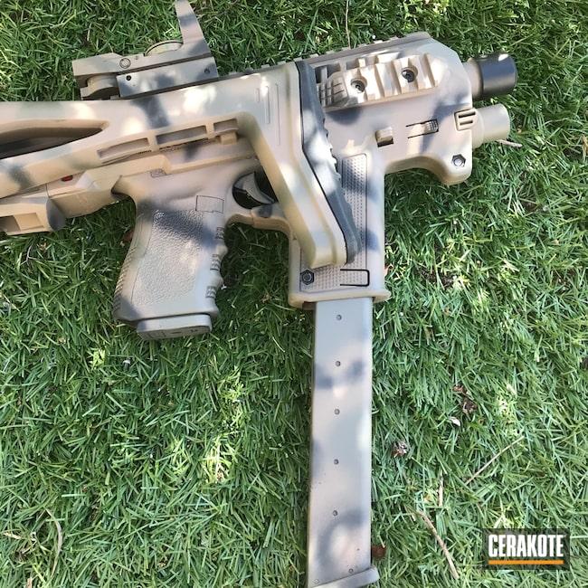 Cerakoted: S.H.O.T,Graphite Black H-146,Micro Roni Gen 3,Pistol,Glock,Flat Dark Earth H-265,Custom Camo,MAGPUL® FOLIAGE GREEN H-231