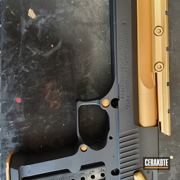 Cerakoted Two Toned Desert Eagle Handgun In H-146 And H-122