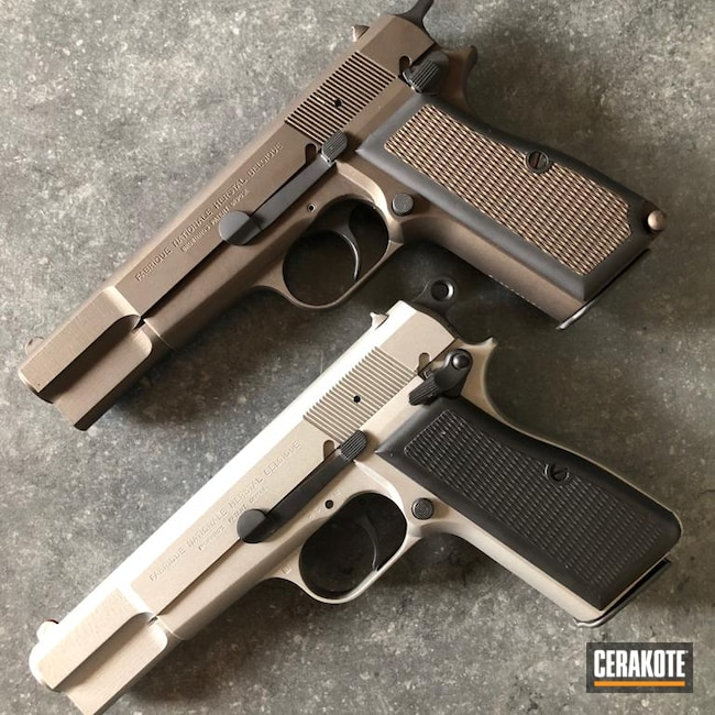Cerakoted: S.H.O.T,Browning Hi-Power,Graphite Black H-146,Browning,Titanium H-170,Pistol,Midnight Bronze H-294