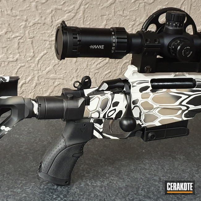 Cerakoted: S.H.O.T,Bolt Action Rifle,Kryptek,Snow White H-136,Graphite Black H-146,Desert Sand H-199,Firearm,Tikka,.308 Tikka T3x TAC A1