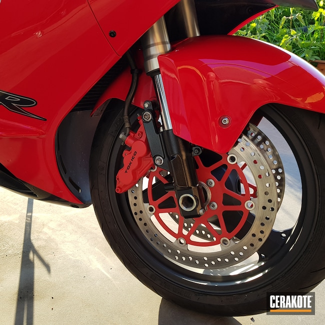 Cerakoted: Kawasaki,Brake Calipers,Graphite Black H-146,Motorcycles,Kawasaki Ninja ZX-12R,USMC Red H-167,Automotive,CERAKOTE GLACIER BLACK C-7600