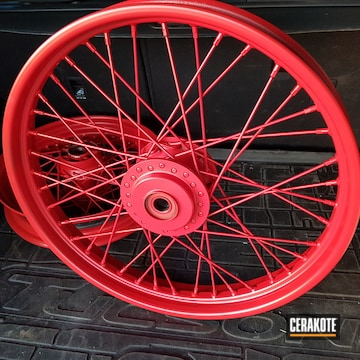 Cerakoted Refinished Harley Davidson Wheels In H-146 And H-167