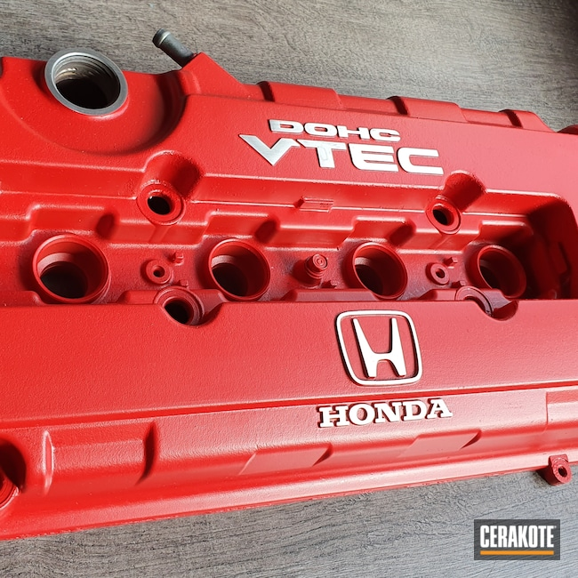 Cerakoted: Honda Valve Cover,Gloss Black H-109,USMC Red H-167,More Than Guns,Automotive,Honda