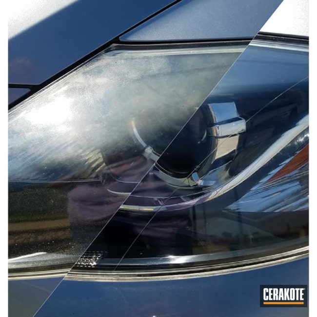 Cerakoted Before And After Headlight Restoration