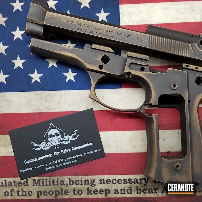 Cerakoted: S.H.O.T,Graphite Black H-146,Burnt Bronze H-148,Pistol,Beretta,92FS,Pistol Frame