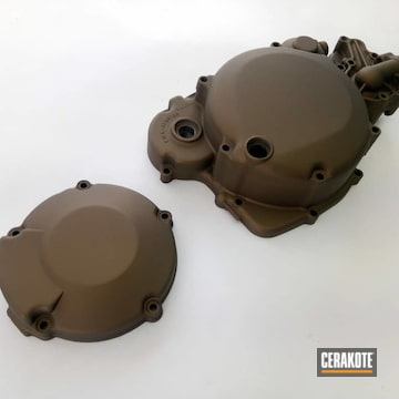 Cerakoted Motorcycle Engine Covers In H-148
