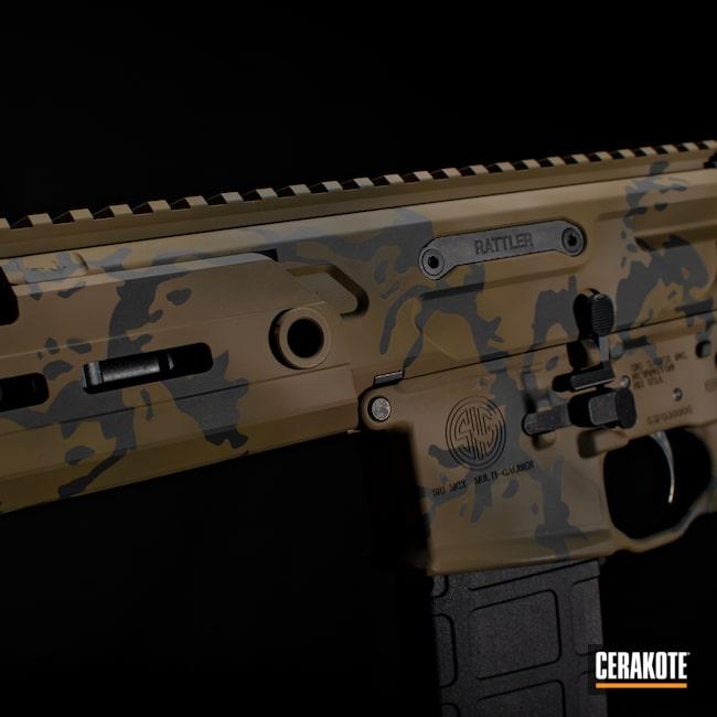 Cerakoted: S.H.O.T,Rifle,Highland Green H-200,Coyote Tan H-235,AR,Firearm,Rattler,MULTICAM® OLIVE H-344,Sig Sauer,SIG™ DARK GREY H-210