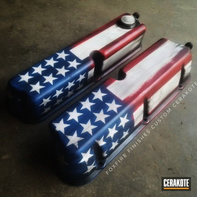 Cerakoted American Flag Ford 5.0 Valve Covers
