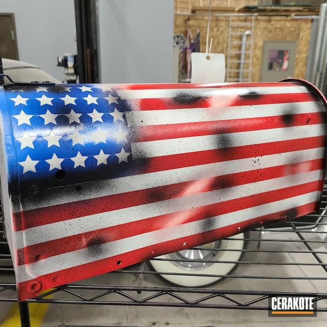 Cerakoted: NRA Blue H-171,Battleworn,Home,Battleworn Flag,Graphite Black H-146,Mailbox,Stormtrooper White H-297,USMC Red H-167,American Flag,More Than Guns,Metal,Merica