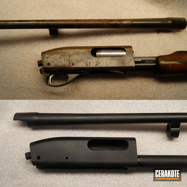 Cerakoted: S.H.O.T,Shotgun,Armor Black C-192,12 Gauge,870,Remington,Before and After