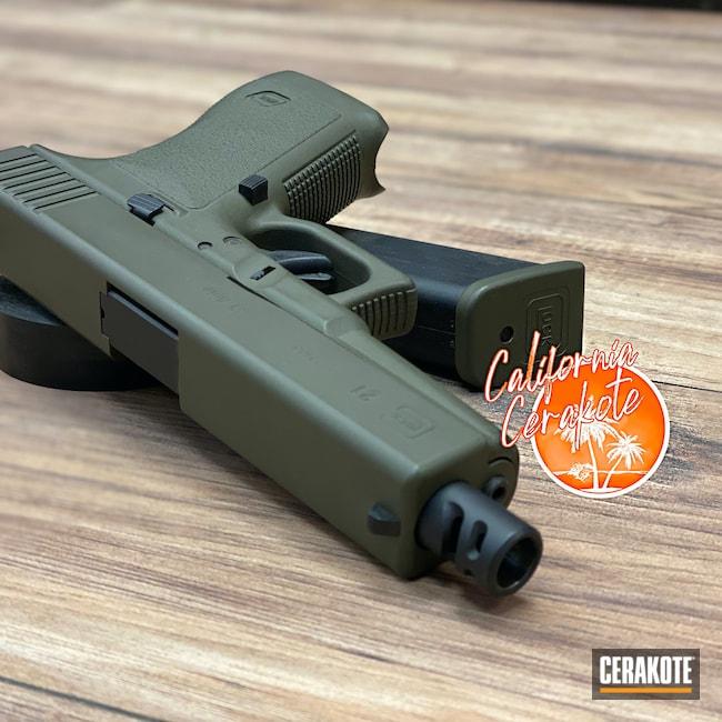 Cerakoted: S.H.O.T,Glock 21,Mil Spec O.D. Green H-240,Pistol,Glock,Christopher Miller,california cerakote