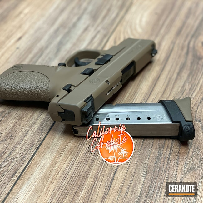Cerakoted: S.H.O.T,M17 COYOTE TAN E-170,Two Tone,Smith & Wesson,Smith & Wesson M&P,Pistol,Christopher Miller,california cerakote